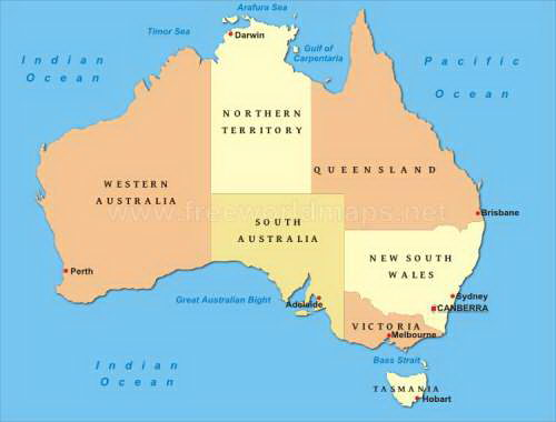 australia map - Australia Information for Kids