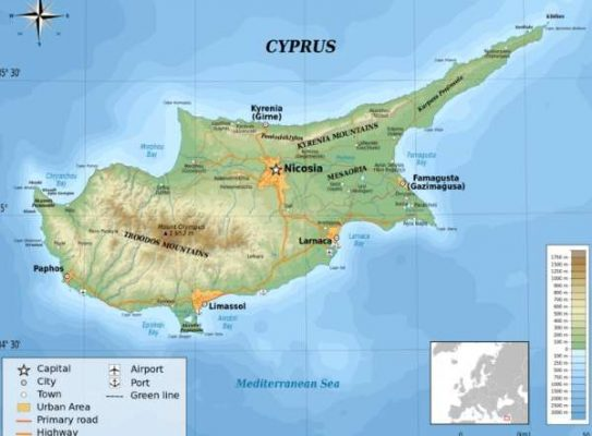 Map of Cyprus - Cyprus facts for kids