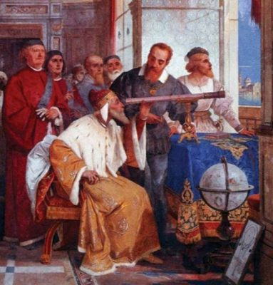 Galileo observing through telescope